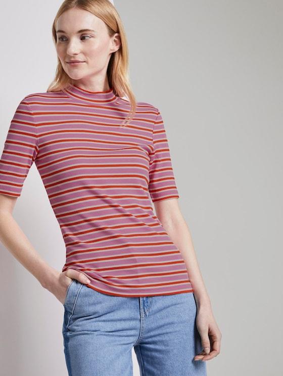 Gestreiftes T-Shirt mit Stehkragen - Frauen - pink red stripe - 5 - TOM TAILOR Denim