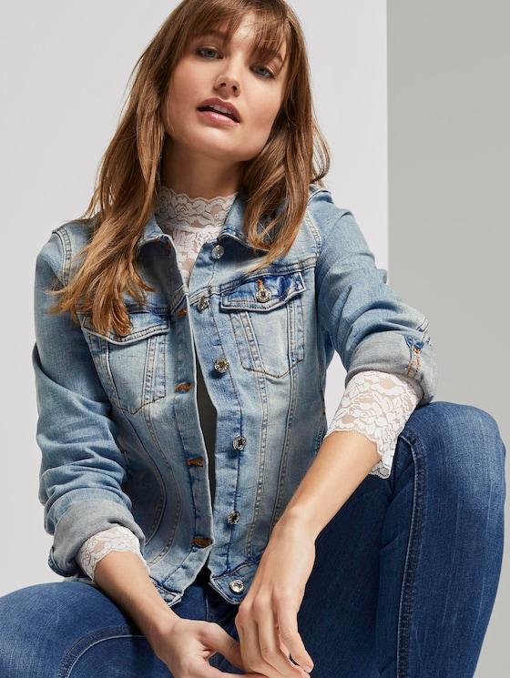 Denim jacket in a washed look - Women - Used Light Stone Blue Denim - 5 - TOM TAILOR Denim