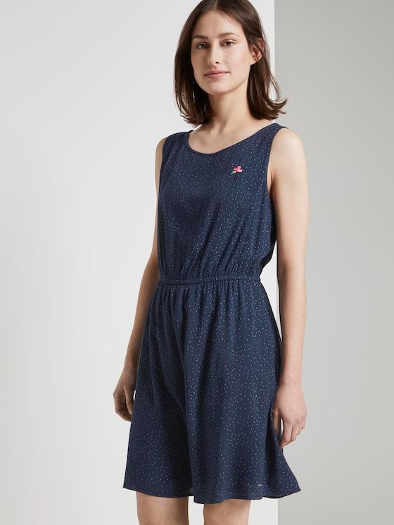 Kurzes Kleid mit Punkten - Frauen - navy small dot - 5 - TOM TAILOR Denim