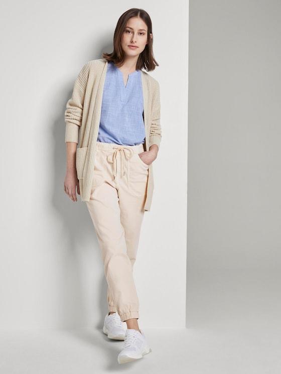 Relaxed-Fit Hose mit elastischen Beinabschlüssen - Frauen - Sand Beige - 3 - TOM TAILOR Denim