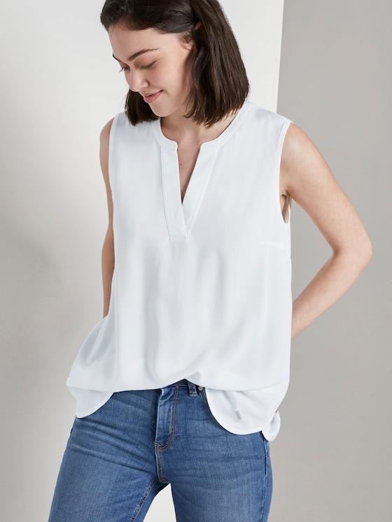 Ärmellose Bluse mit Henley-Ausschnitt - Frauen - Off White - 5 - TOM TAILOR Denim
