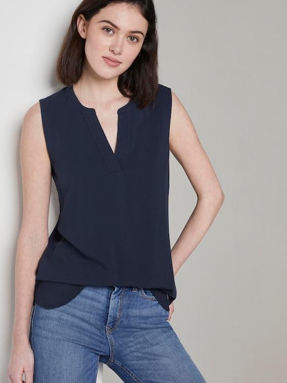 Sleeveless blouse with a Henley neckline - Women - Real Navy Blue - 5 - TOM TAILOR Denim