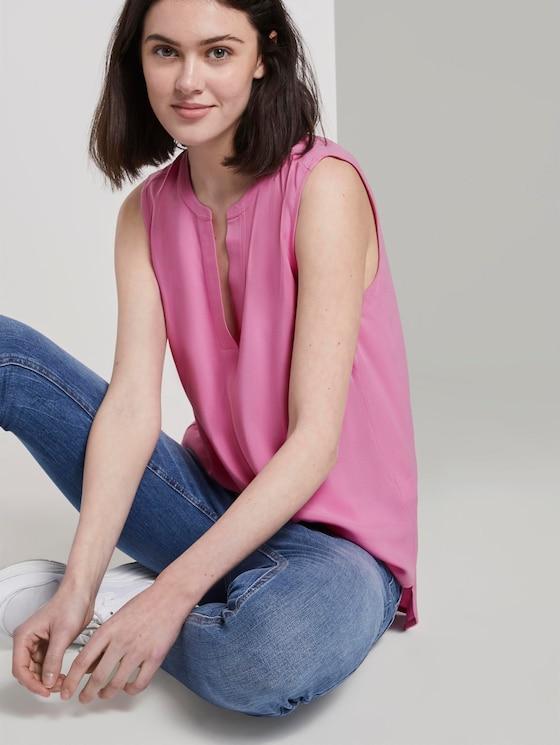 Ärmellose Bluse mit Henley-Ausschnitt - Frauen - wild orchid pink - 5 - TOM TAILOR Denim