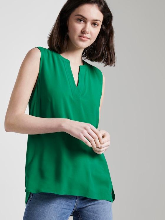 Ärmellose Bluse mit Henley-Ausschnitt - Frauen - fresh bright green - 5 - TOM TAILOR Denim