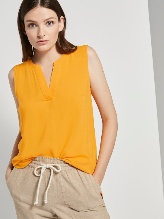 Ärmellose Bluse mit Henley-Ausschnitt - Frauen - orange yellow - 5 - TOM TAILOR Denim