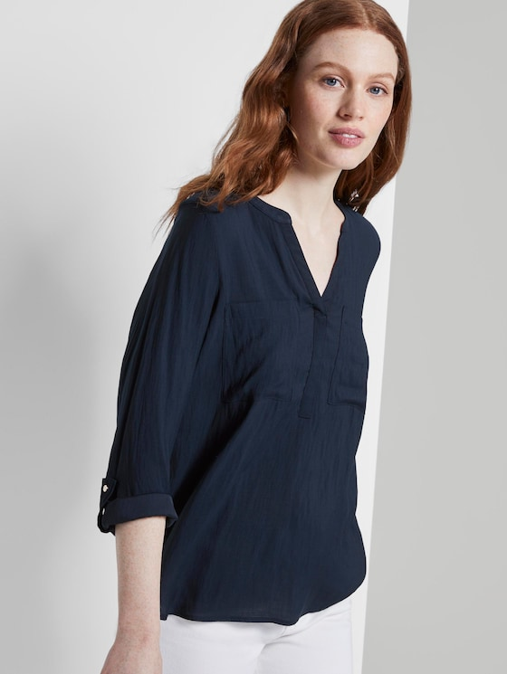 Tunikabluse mit Brusttaschen - Frauen - Real Navy Blue - 5 - TOM TAILOR Denim