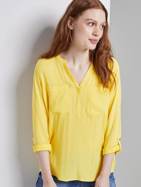 Tunic blouse with chest pockets - Women - Golden Summer Yellow - 5 - TOM TAILOR Denim