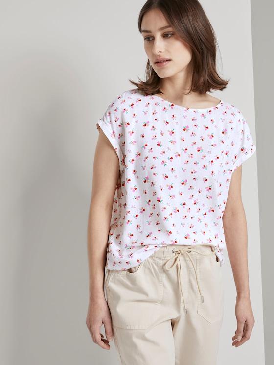 Gemustertes T-Shirt mit Cut-Out - Frauen - light flower print - 5 - TOM TAILOR Denim