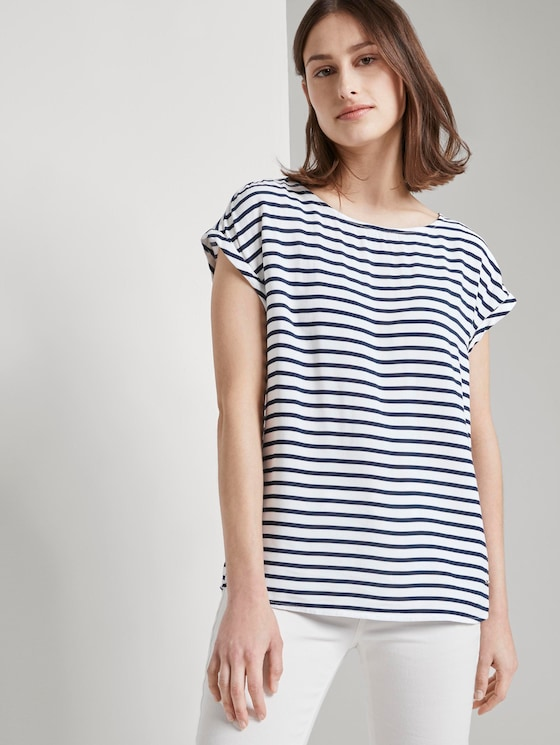 Gemustertes T-Shirt mit Cut-Out - Frauen - navy white stripe - 5 - TOM TAILOR Denim