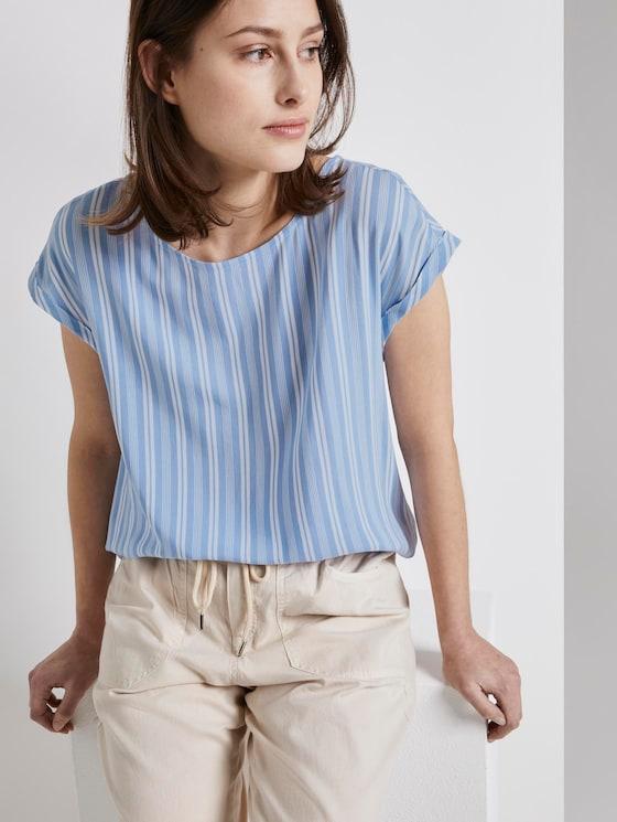 Patterned T-shirt with cut-out details - Women - light blue vertical stripe - 5 - TOM TAILOR Denim