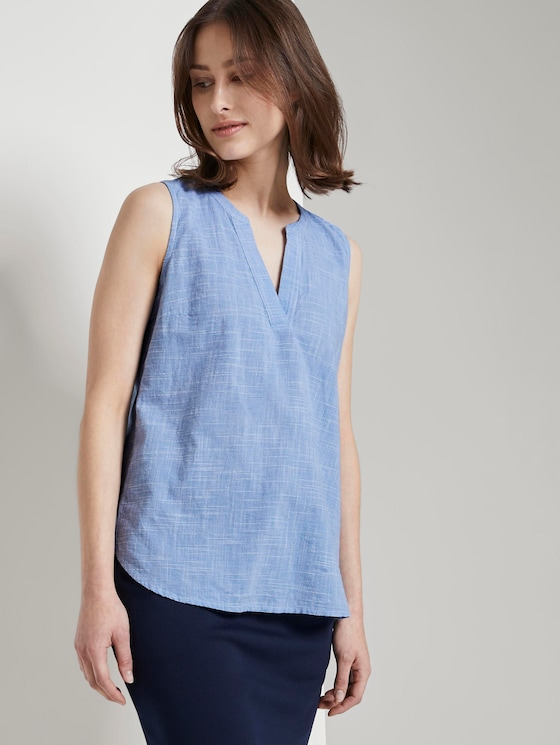 Ärmellose Bluse mit Henley-Ausschnitt - Frauen - light blue white slub - 5 - TOM TAILOR Denim