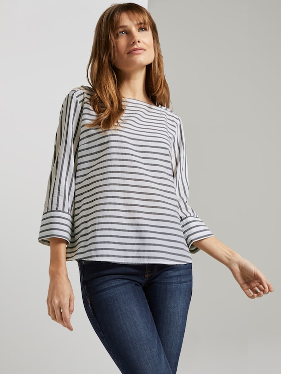 Gestreepte Blouse met Carree Hals - Vrouwen - navy white stripe - 5 - TOM TAILOR Denim