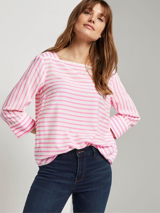 Gestreepte Blouse met Carree Hals - Vrouwen - rose white stripe - 5 - TOM TAILOR Denim