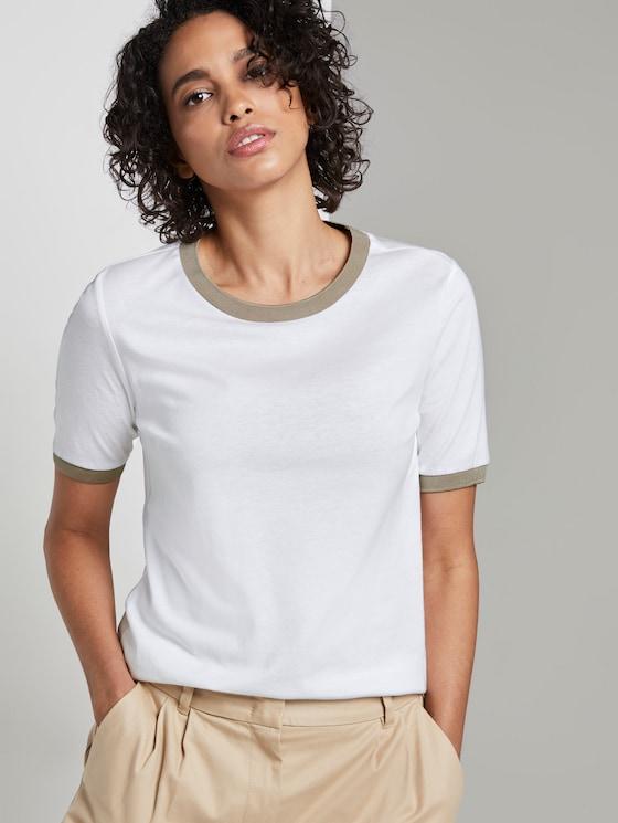 T-Shirt mit Kontrast-Blende - Frauen - Ceramic White - 5 - Mine to five