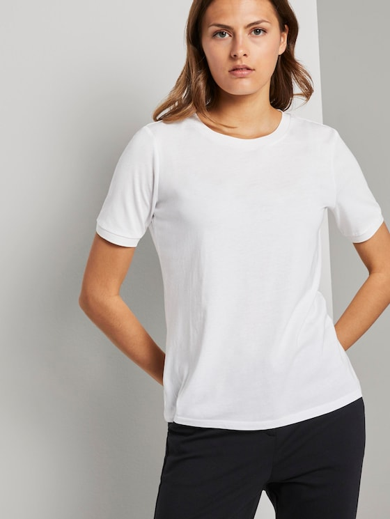 T-Shirt mit Kontrast-Blende - Frauen - White - 5 - Mine to five
