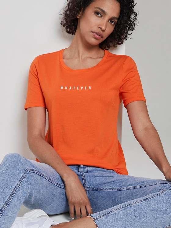 T-Shirt mit Schrift-Print - Frauen - Fiery Orange - 5 - Mine to five