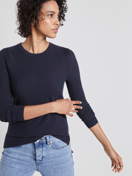 Knitted sweater with contrast details - Women - Sky Captain Blue - 5 - Mine to five