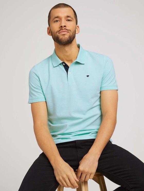 Basic Poloshirt - Männer - lucite green white melange - 5 - TOM TAILOR
