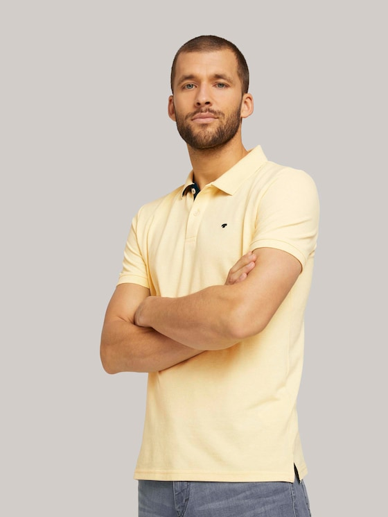 Basic Poloshirt - Männer - pale yellow white melange - 5 - TOM TAILOR