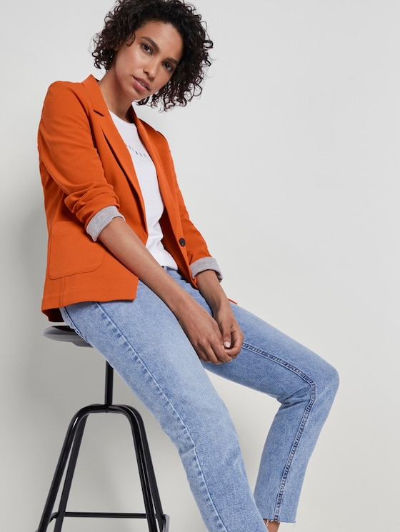 Feiner Crêpe Blazer - Frauen - Fiery Orange - 5 - Mine to five