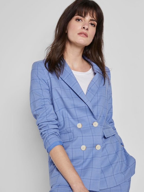 Karo Blazer im Girlfriend-Fit - Frauen - blue check design - 5 - Mine to five