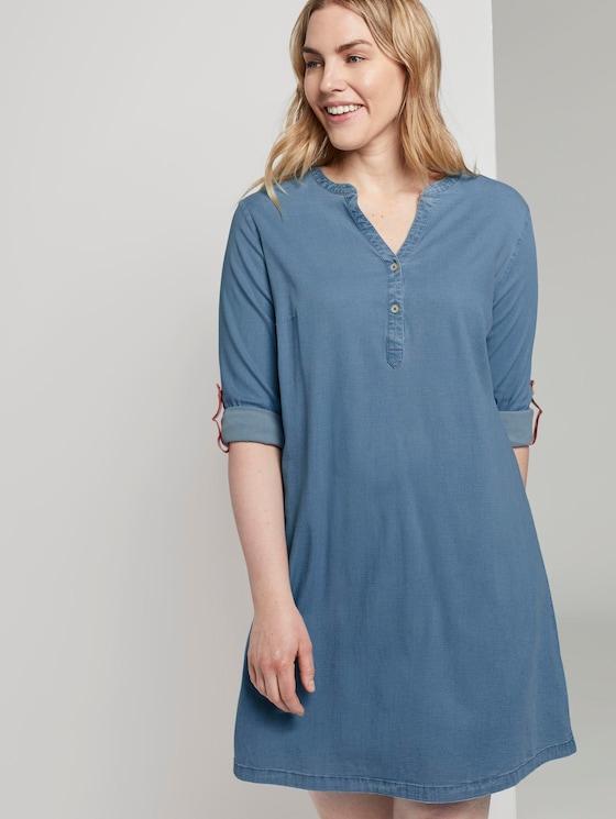 Simple Chambray shirt dress - Women - Light Blue Denim Look Chambray - 5 - My True Me