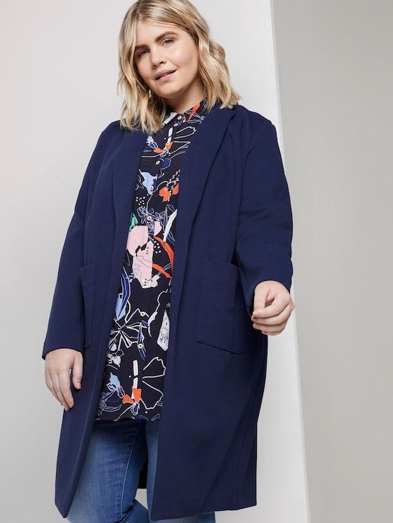 Piqué coat with contrast details - Women - Real Navy Blue - 5 - My True Me
