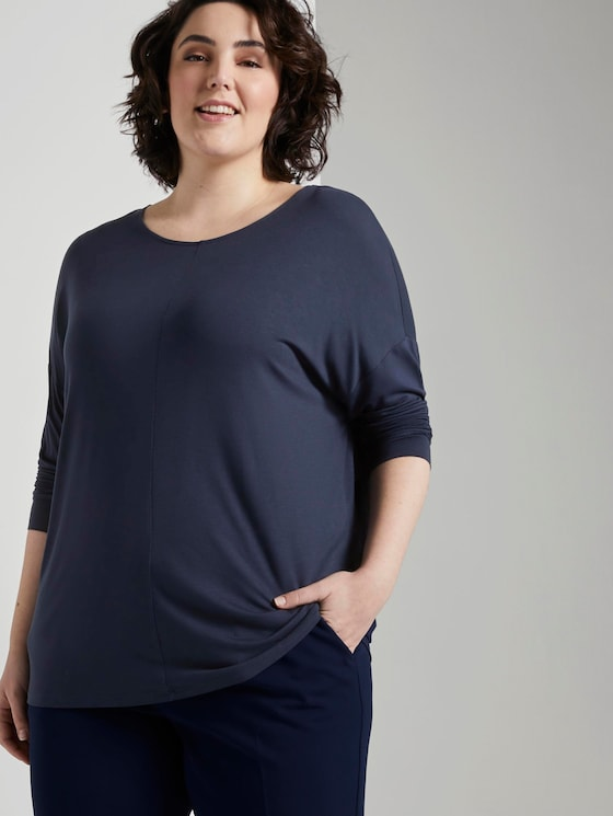 Shirt met 3/4 mouw en vleermuis - Vrouwen - Real Navy Blue - 5 - My True Me