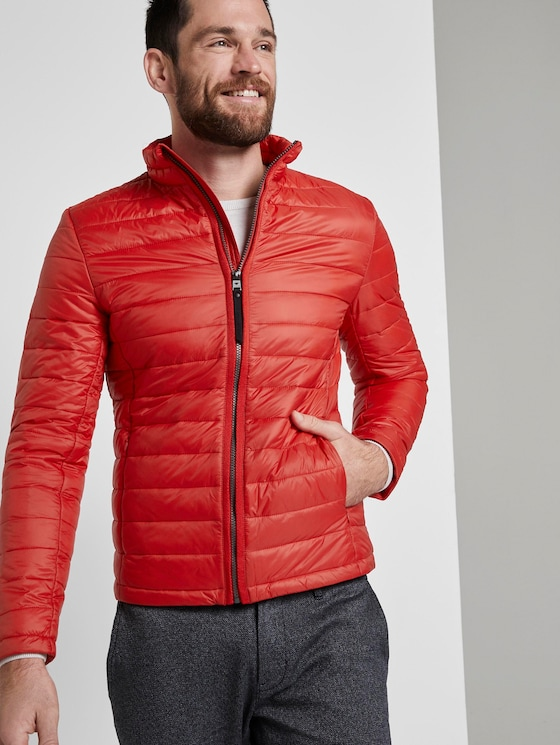 Lightweight jacket with a stand-up collar - Men - brilliant red - 5 - TOM TAILOR