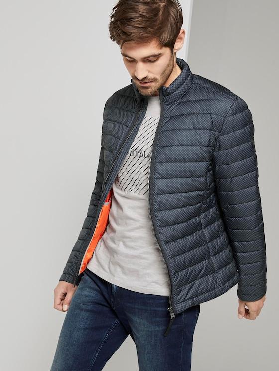 Lightweight jacket with a stand-up collar - Men - dark blue minimal - 5 - TOM TAILOR