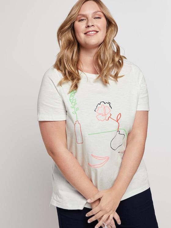 T-Shirt mit Stickerei - Frauen - Whisper White - 5 - My True Me
