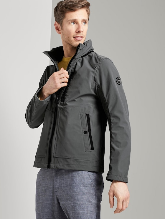 Softshell Jacket with a hood - Men - middle pigeon grey - 5 - TOM TAILOR