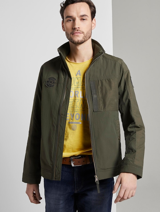 Modern jacket in a material mix - Men - Woodland Green - 5 - TOM TAILOR
