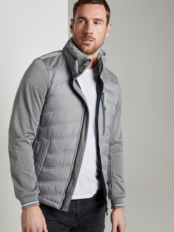 Hybrid fleece jacket - Men - Medium Silver Grey - 5 - TOM TAILOR