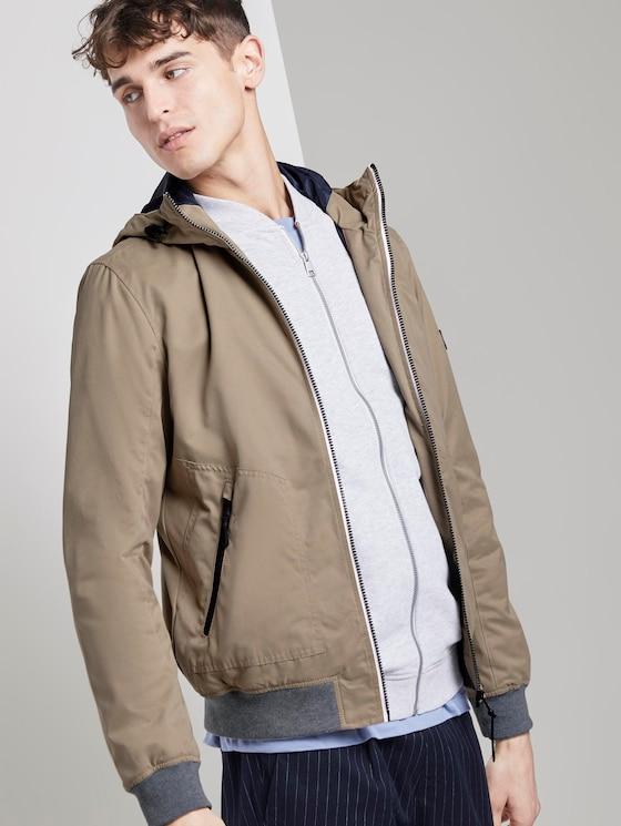 Thin jacket with a hood - Men - Quarry Beige - 5 - TOM TAILOR Denim