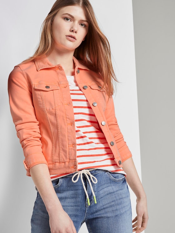 Jeansjacke im Slim-Fit - Frauen - dark papaya neon orange - 5 - TOM TAILOR Denim