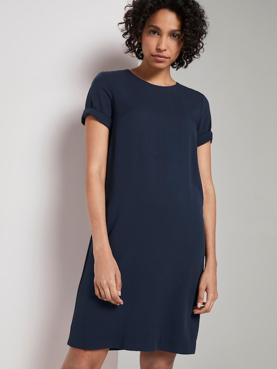 Dress with piped stripes -  - Sky Captain Blue - 5 - Mine to five