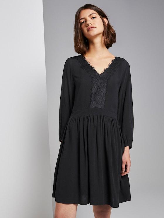 Mini-jurk met kant - Vrouwen - Deep Black - 5 - TOM TAILOR Denim
