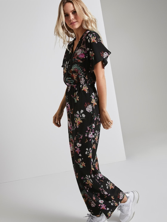 Jumpsuit mit Muster - Frauen - black flower print - 5 - TOM TAILOR Denim