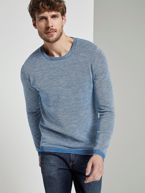 Strukturierter Strickpullover - Männer - navy blue  knitted structure - 5 - TOM TAILOR