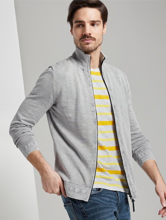 Strukturierte Strickjacke - Männer - Artemis Grey - 5 - TOM TAILOR