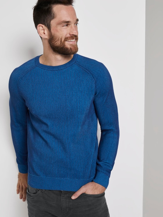 Strickpullover mit Rippmuster - Männer - blue blue plated stripe - 5 - TOM TAILOR