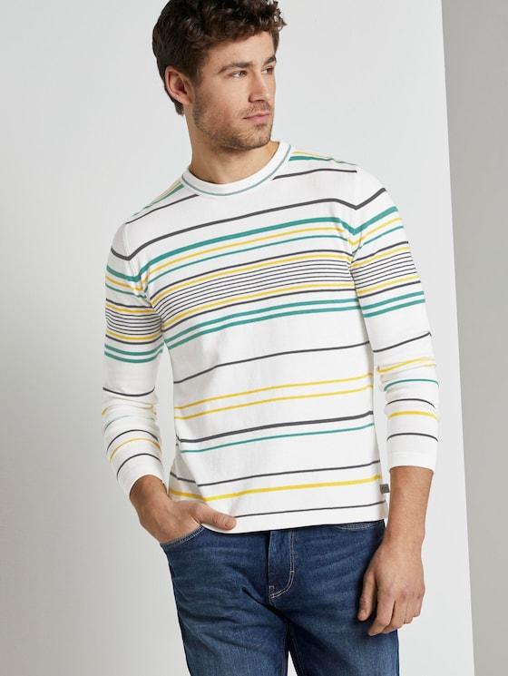 Gestreifter Strickpullover - Männer - white yellow fine stripe - 5 - TOM TAILOR