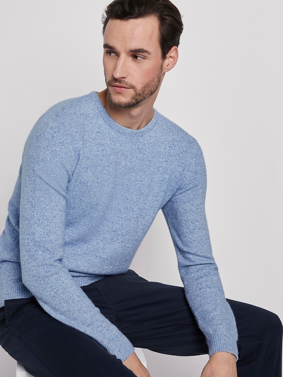Mottled knitted sweater - Men - blue blue melange - 5 - TOM TAILOR