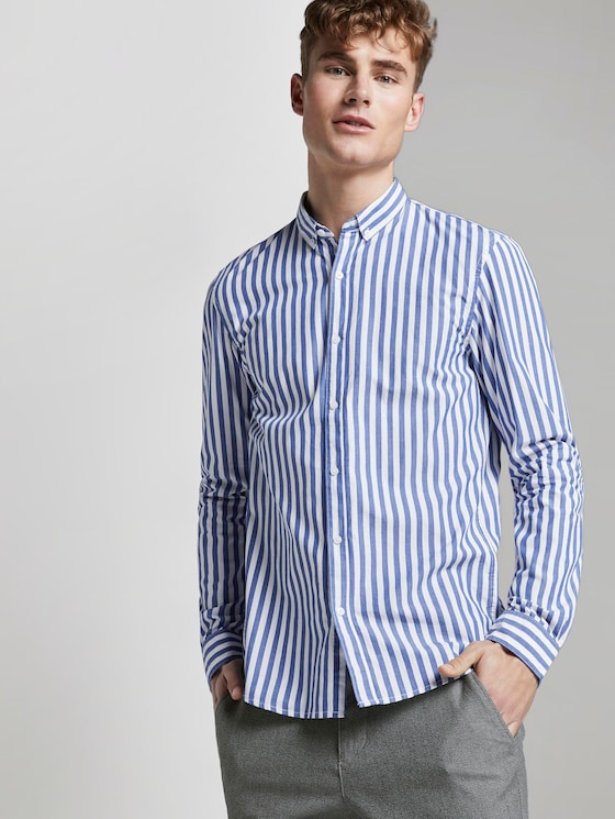Gemustertes Hemd - Männer - white blue bold stripe - 5 - TOM TAILOR Denim