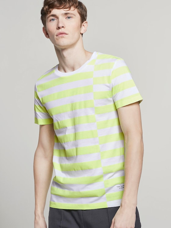 gestreepte T-Shirt - Mannen - neon green regular big stripe - 5 - TOM TAILOR Denim