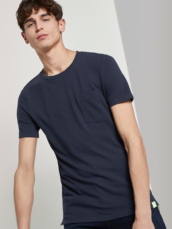 Strukturiertes T-Shirt mit Brusttasche - Männer - Sky Captain Blue - 5 - TOM TAILOR Denim