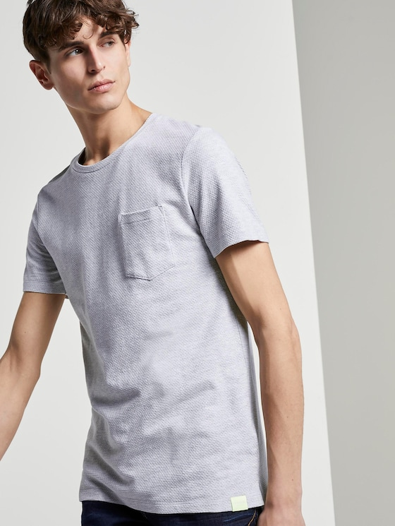 Strukturiertes T-Shirt mit Brusttasche - Männer - Light Stone Grey Melange - 5 - TOM TAILOR Denim