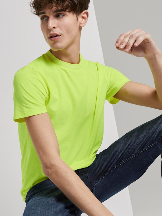 T-shirt met logo - Mannen - neon green - 5 - TOM TAILOR Denim