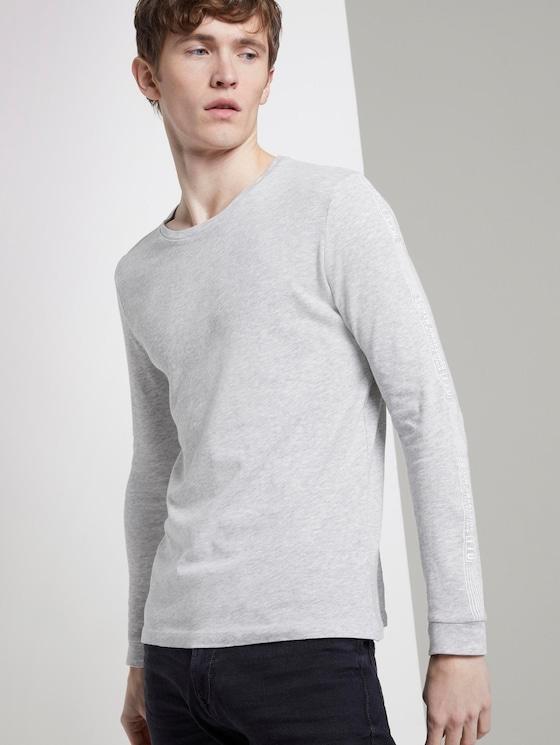 Langarmshirt mit Print am Ärmel - Männer - Light Stone Grey Melange - 5 - TOM TAILOR Denim